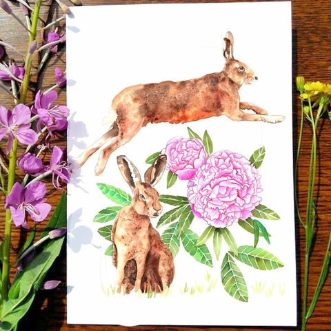 Greeting Card - Garden Hares