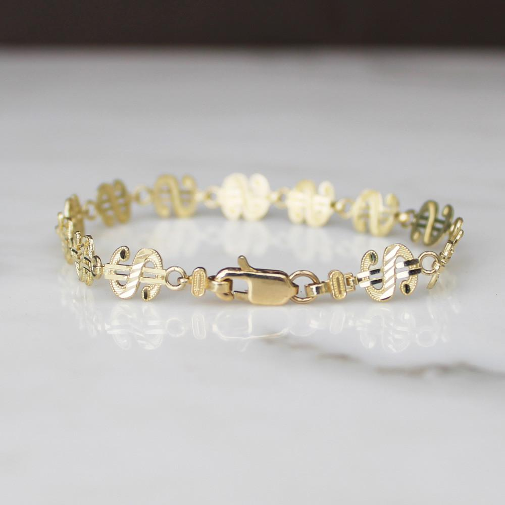 Dollar Sign Bracelet - 10K/14K Solid