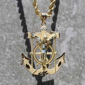 Crucifix Jesus Anchor Pendant - 10K