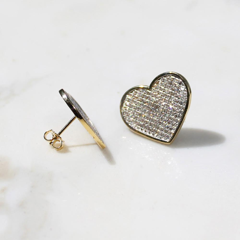 Heart Stud Earrings w Micro Pave CZ Stones - 10K