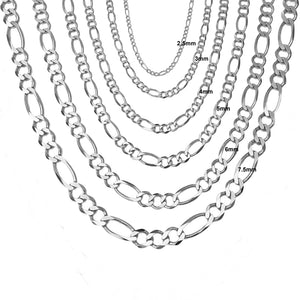 Figaro Link Chain - 14K Solid White