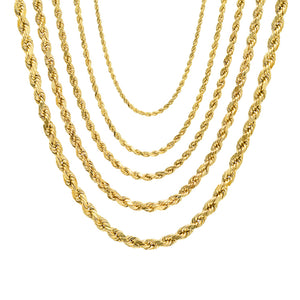Diamond Cut Rope Chain - 14K Hollow