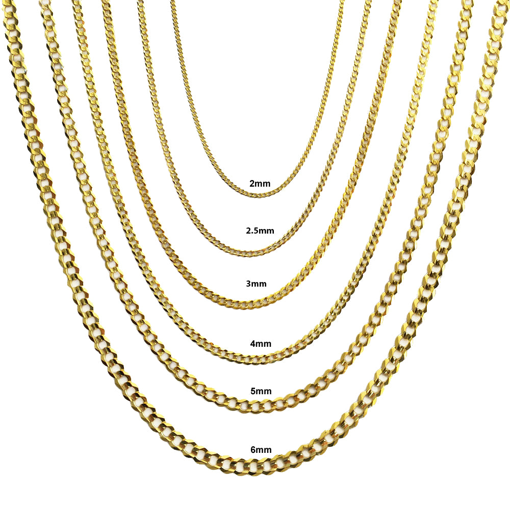"""10K Solid White Gold Mens Womens 2mm Curb Chain Cuban Link Pendant Necklace 20/"""""""
