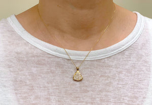 "10K Solid Yellow Gold CZ Heart Pendant Necklace Set - 18""/20"""