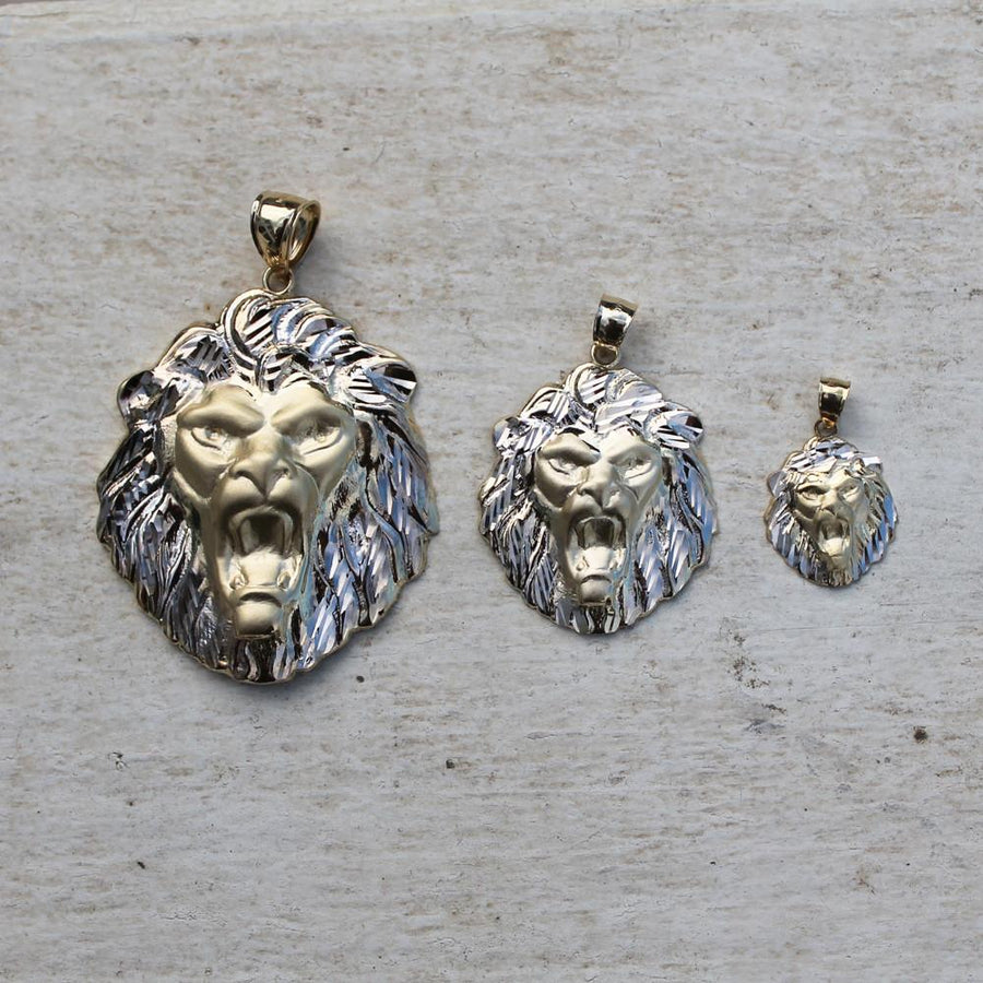 Two Tone Lion Head Pendant - 10K