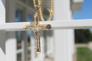 Two Tone Crucifix Tubing Cross - 10K/14K
