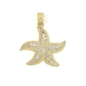 Two-tone Starfish Pendant - 10K