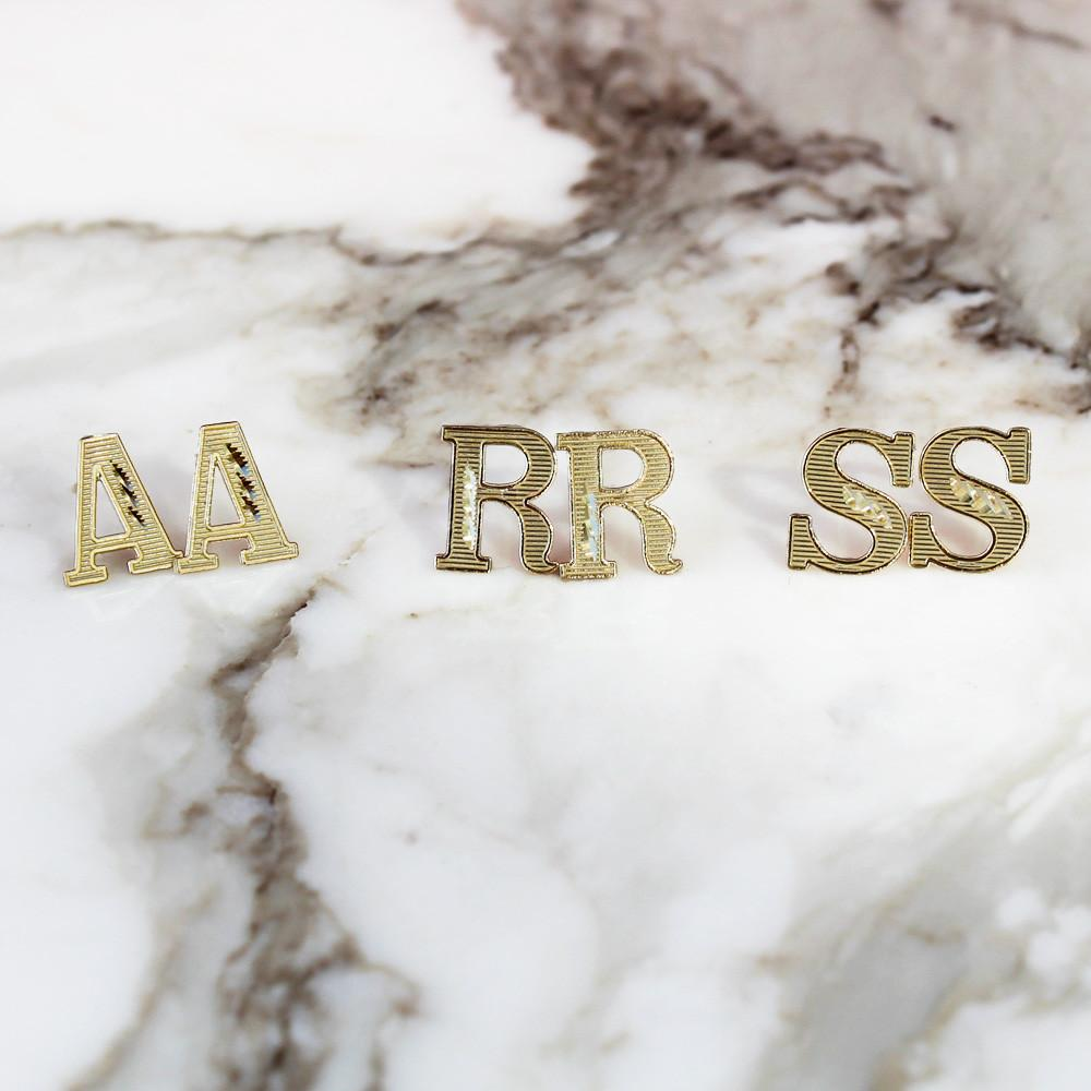 Initial Name Letter Stud Earrings - 10K