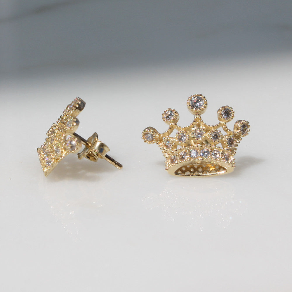 double yellow crown stud screwback earrings accent gold