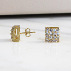 Curved Square Stud Earrings w CZ Stones - 10K