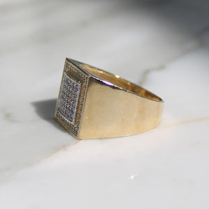 Micro Pave Border Mens Ring - 10K
