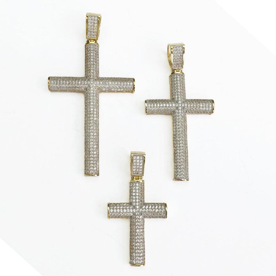 Curved Cross Pendant w CZ Stones - 10K