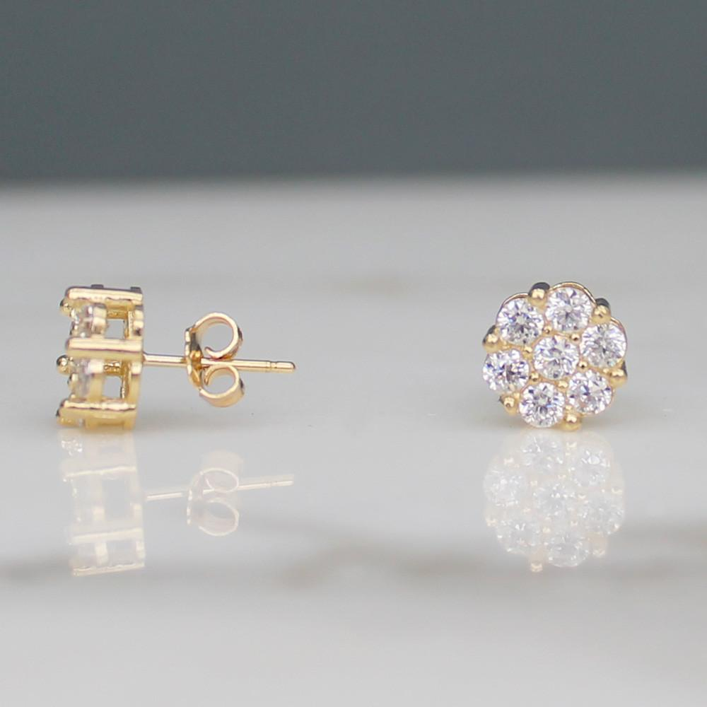 Circle Cluster Stud Earrings w CZ Stones - 10K