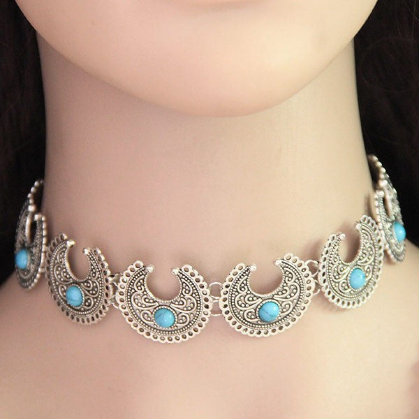 Silver Turquoise Choker - My Glam Styles