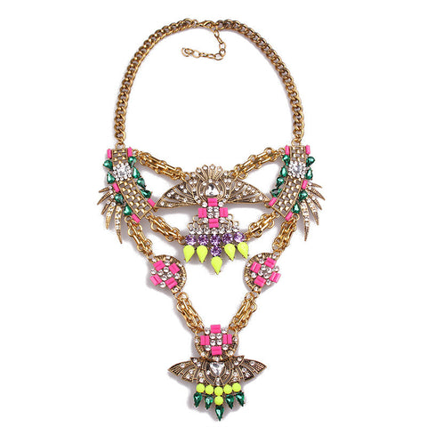 Geomentric Spectacular Colors Statement Necklace