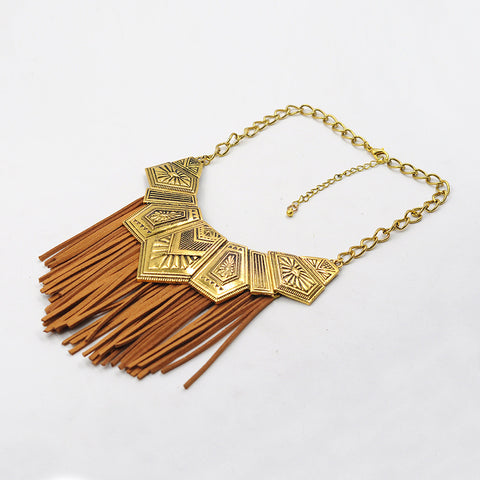 Faux Suede Brown Fringe Statement Necklace