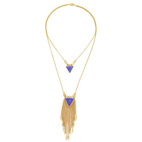 Long Blue Triangle Necklace