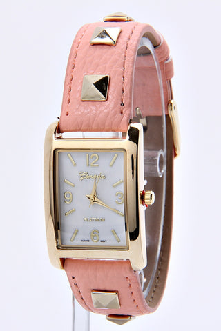 Cute Faux Leather Studded Band & Square Gold Watch (Peach)