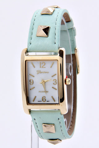 Cute Faux Leather Studded Band & Square Mint Watch