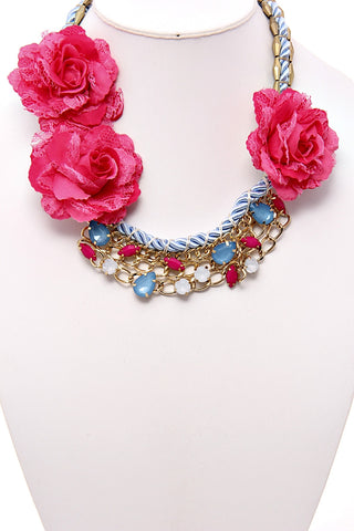 Pink Flowers Statement Necklace