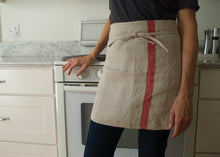 Load image into Gallery viewer, heavyweight solo red stripe half apron kitchen