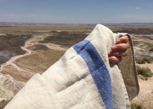 Load image into Gallery viewer, blue travel weight solo stripe linen bath towel in the desert