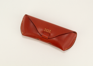 leather glasses case - red