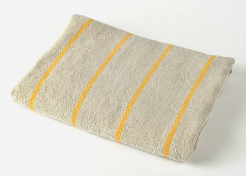 heavyweight yellow stripe linen beach towel top view
