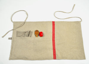 heavyweight solo red stripe half apron with spoons