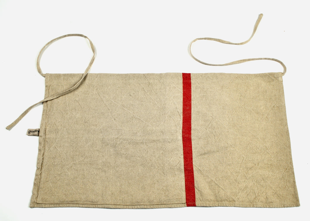 heavyweight solo red stripe half apron top view
