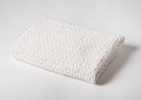 diamond weave linen bath towel - white