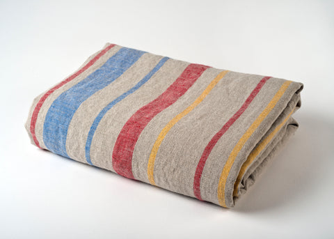 travel weight linen beach blanket - multi