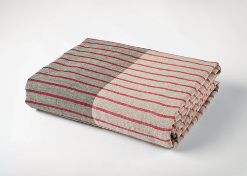 travel weight linen beach blanket - red/gray