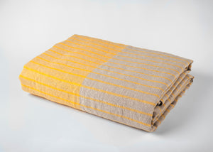 travel weight linen beach blanket - yellow