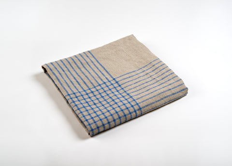 lightweight grid linen dish towel - blue