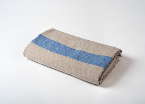 lightweight linen travel towel - blue