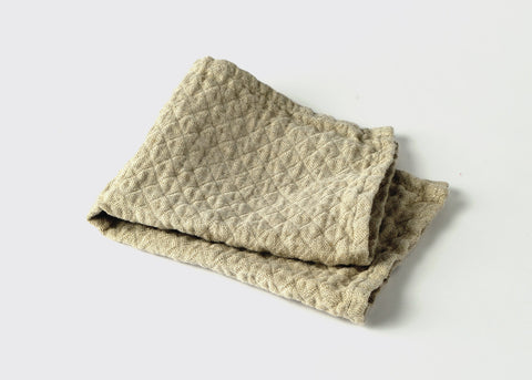 diamond weave linen small hand towel top view