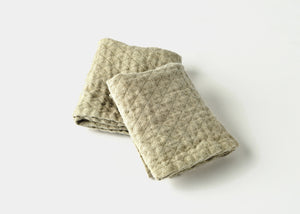 diamond weave linen small hand towel stack