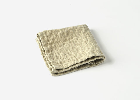 diamond weave linen washcloth top view