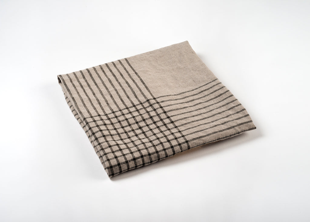 lightweight grid linen dish towel - gray