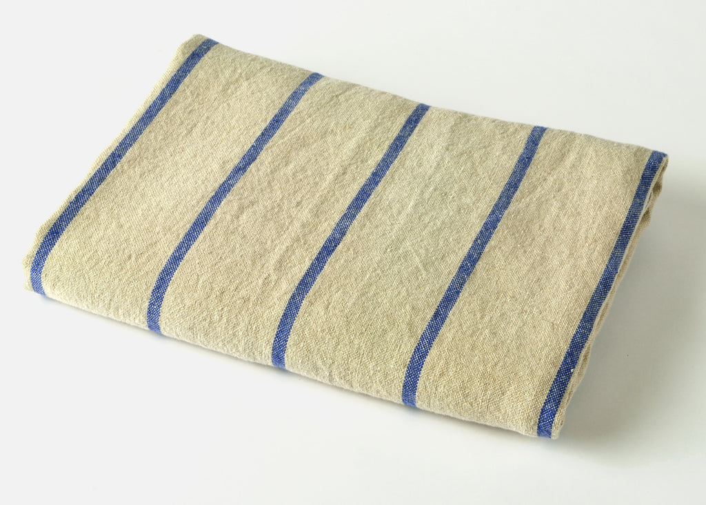 heavyweight blue stripe linen beach towel top view