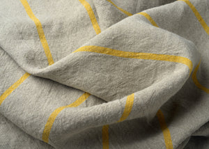 heavyweight yellow stripe linen dish towel fabric