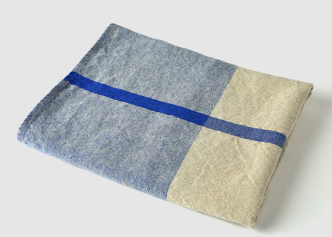 heavyweight blue t-pattern linen bath towel top view