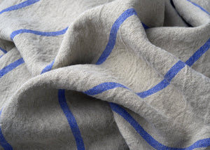 heavyweight blue stripe linen dish towel fabric