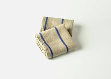 Load image into Gallery viewer, heavyweight stripe linen dish towel - blue