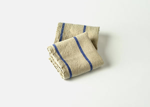 heavyweight stripe linen dish towel - blue