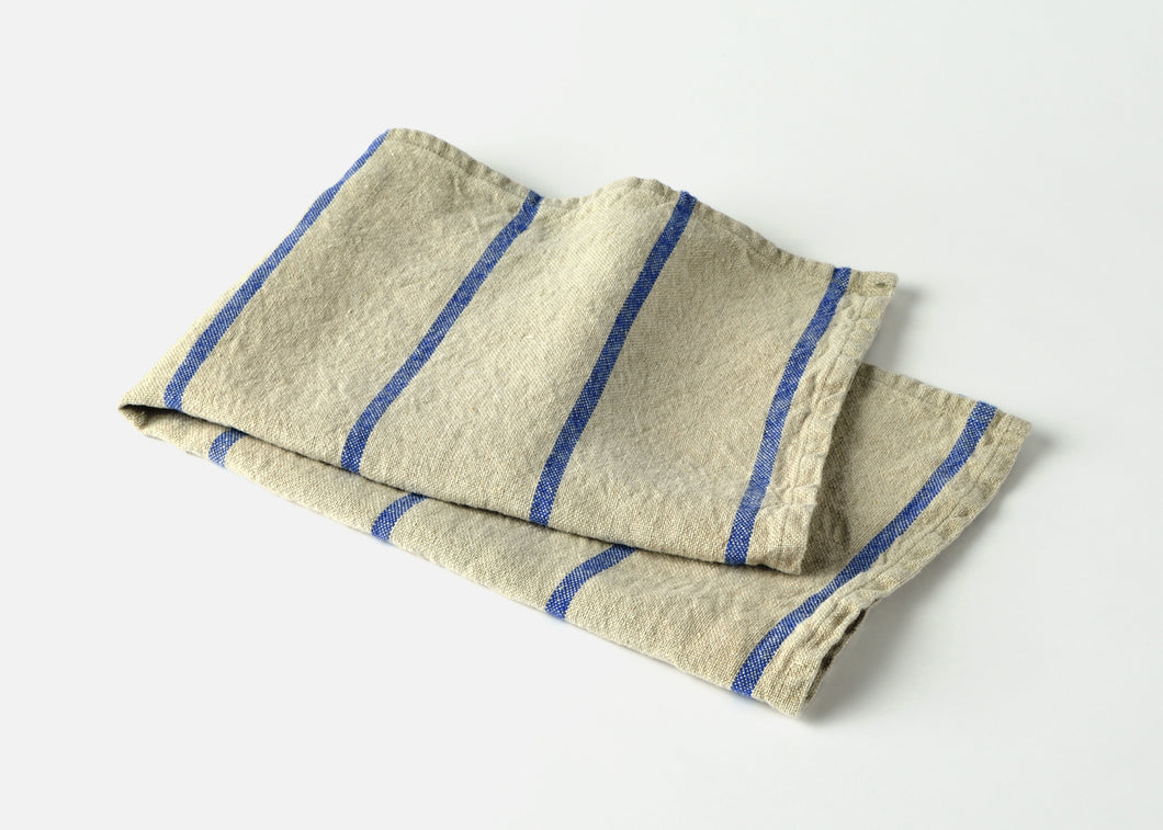 heavyweight blue stripe linen dish towel top view