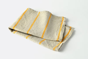 heavyweight yellow stripe linen dish towel top view