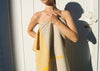 heavyweight yellow t-pattern linen bath towel shower drape