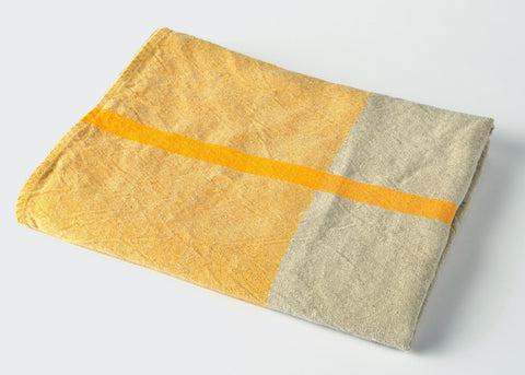 heavyweight yellow t-pattern linen bath towel top view